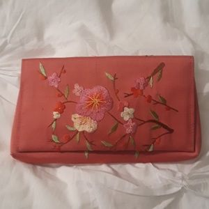 Handbags - Pink Silk Embroidered Clutch/Wallet
